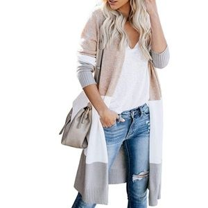 Sweaters - Boho Open Front Neutral Colorblock Cardigan Career